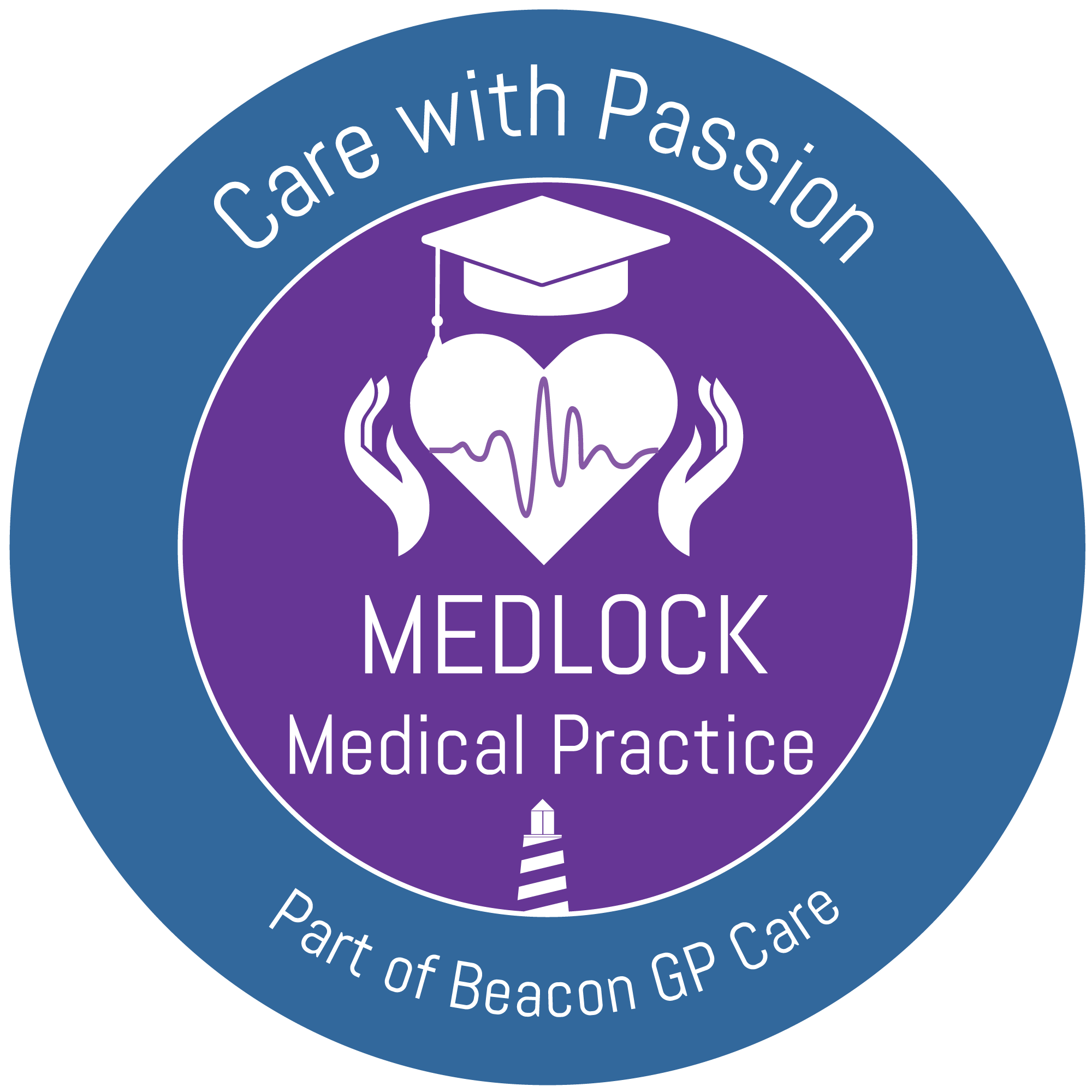 Medlock Medical Practice logo. Care with Passion. Part of Beacon GP Care